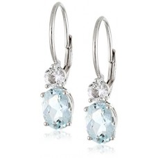 10k White Gold Aquamarine and Created White Sapphire Dangle Earrings