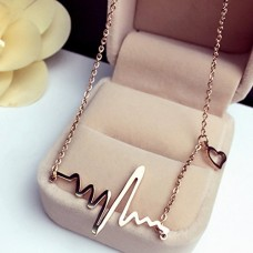 18k Gold Titanium Heartbeat Necklace Lifeline Valentine's Day Gift for Her or Him---Free shipping