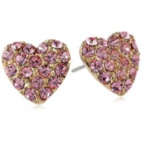1928 Jewelry Heart of Hearts Collection Pave Heart Button Earrings