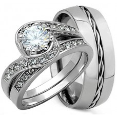 3 Pieces His & Hers  Matching Wedding Ring Set
