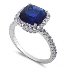 3CT Cushion Cut Simulated Blue Sapphire & Cz .925 Sterling Silver Ring Sizes 5-11---FREE SHIPPING