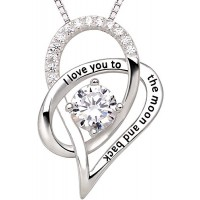 "ALOV Jewelry Sterling Silver ""I Love You To The Moon and Back"" Love Heart Pendant Necklace---Free shipping"