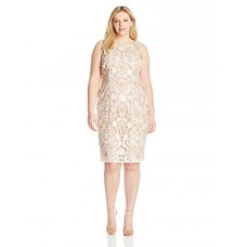 Adrianna Papell Women's Plus-Size Embroidered Mesh Boat Neck Shift Dress