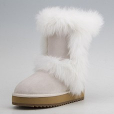 Ausland Women's Suede Leather Fox Fur Mid-Calf Snow Boot 9256