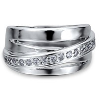 BERRICLE Sterling Silver 0.24 ct.tw Cubic Zirconia CZ Fashion Right Hand Ring---Free shipping