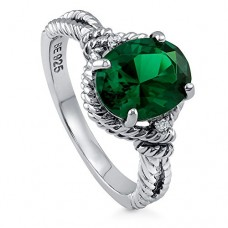 BERRICLE Sterling Silver 2.56 ct.tw Oval Simulated Emerald Cubic Zirconia CZ Solitaire Fashion Ring---Free shipping