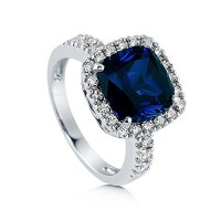 BERRICLE Sterling Silver Cushion Simulated Blue Sapphire Cubic Zirconia CZ Halo Cocktail Ring---Free shipping