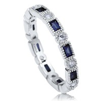 BERRICLE Sterling Silver Simulated Blue Sapphire Cubic Zirconia CZ Art Deco Eternity Band Ring---FREE SHIPPING