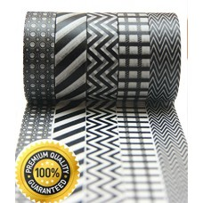 BEST Washi Masking Tape Set of 5 Rolls, Black And White, Adhesive, Decorative, Creative, Re-positional, Multipurpose, Fun Tape * Dark Knight.