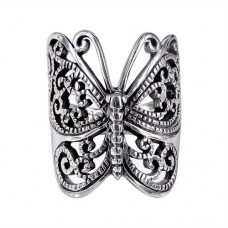 Big Trendy Wrap-Around Butterfly Sterling Silver Ring---Free shipping