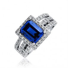 Bling Jewelry 925 Sterling Silver Deco Style Simulated Sapphire CZ Cocktail Ring With Free Engraving