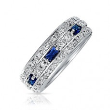 Bling Jewelry Sterling Silver Blue Simulated Sapphire CZ Pave Eternity Band Ring---FREE SHIPPING