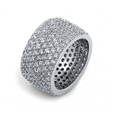 Bling Jewelry Sterling Silver Pave CZ Wide Band Cocktail Ring---Free shipping