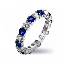 Bling Jewelry Sterling Silver Simulated Sapphire CZ Stackable Eternity Band Ring---FREE SHIPPING
