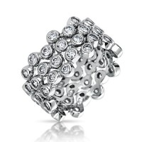 Bling Jewelry Three Stackable Sterling Silver CZ Bubble Band Ring Set---Free shipping