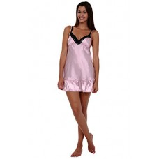 Del Rossa Women's Classic Satin Camisole with Lace and Grey Ribbon Trim