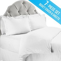 Duvet Cover and Sheet Bedding Set, Queen, White