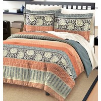 Free Spirit Flora Cotton Comforter And Sham Set, Gray, Queen