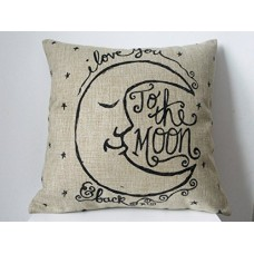 "HOSL Cotton Linen Square Decorative Retro Throw Pillow Case Vintage Cushion Cover I Love You to the Moon and Back 18 ""X18 ""---Free shipping"