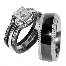 His & Hers 4 PCS Black Stainless Steel Wedding Ring Set