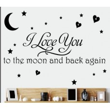 I Love You to the Moon and Back Again Wall Sayings Vinyl Art Decal Quote Sticker Home Decal (Black)---Free shipping