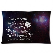 I Love You to the Moon and Back Custom Personalized Rectangle Pillowcase 24x16 (one side)---Free shipping