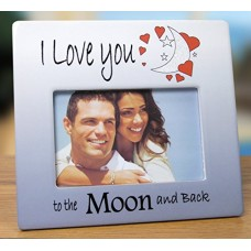 I Love You to the Moon and Back Picture Frame - Red Hearts with Saying on Blue & White Ceramic Frame - Anniversary Gift - Valentine's Day Gift for Her - For 4x6 Inch Photo---Free shipping