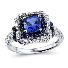 Lab Created Blue Sapphire Ring with Created White Sapphire Accents in Sterling Silver---FREE SHIPPING
