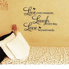 Meco Vinyl Decal Live Every Moment, Laugh Every Day, Love Beyond Words Wall Quote---Free shipping