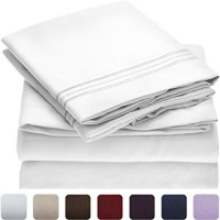 Mellanni Bed Sheet Set - HIGHEST QUALITY Brushed Microfiber 1800 Bedding - Wrinkle, Fade, Stain Resistant - Hypoallergenic - 4 Piece (Queen, White)