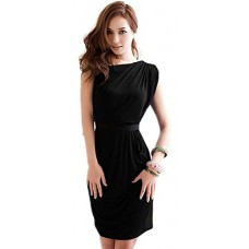 One Shoulder Asymmetrical Asymmetric Sleeveless Drape Mini Dress---Free Shipping (Easy free Returns)