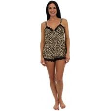 Pajama Heaven Cheetah with Black Lace Satin Camisole and Short Set - X-Large