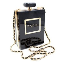 Paris Perfume Bottle Acrylic Evening Clutch Bag Cocktail Purse Handbag Women
