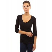 Patty Women's Raglan V Neck Long Sleeve Ruched Tee---Free Shipping (Easy free Returns)