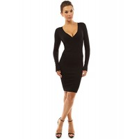 PattyBoutik Women's V Neck Long Sleeve Knit Dress---Free Shipping (Easy free Returns)