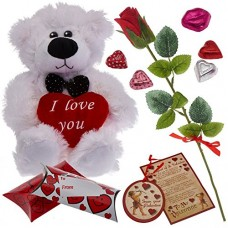 Prextex Valentine's Day Gift Set Including Valentine Scented Velvet Rose, Wooden Valentine Card Ornament, Gift Boxes and More  (FREE AND FAST SHIPPING)