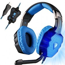 SADES A70 7.1 Surround Sound Stereo USB Gaming Headset Over-Ear with Microphone Volume Control Breathing LED Lights for PC Gamers(Black)
