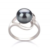 Sadie Black 9-10mm AA Quality Freshwater 925 Sterling Silver Pearl Ring---Free shipping
