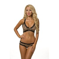 Sexy Animal Print Bra and Panty Set for Women 3283a