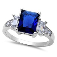 Simulated Blue Sapphire & Cubic Zirconia .925 Sterling Silver Ring Sizes 4-11---FREE SHIPPING