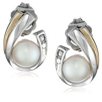 Sterling Silver, 14k Yellow Gold, and Freshwater Cultured Pearl (5.0-5.5 mm) and Diamond Earrings---Free shipping