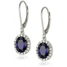 Sterling Silver Created White Sapphire Lever-Back Dangle Earrings