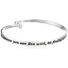 "Sterling Silver ""Love Is... Finding Someone You Can't Live Without"" Sentiment Catch Bangle Bracelet---Free shipping"