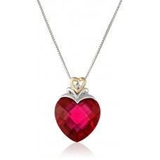 "Sterling Silver and 14k Yellow Gold Created Ruby Heart and Diamond-Accent Pendant Necklace, (.006 cttw, I-J Color, I2-I3 Clarity), 18""---Free shipping"