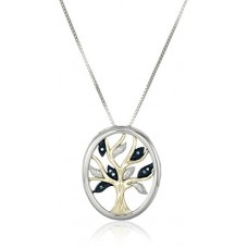 "Sterling Silver and 14k Yellow Gold Diamond Tree of Life Pendant Necklace (.04 cttw), 18""---Free shipping"