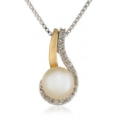 Sterling Silver and 14k Yellow Gold Freshwater Cultured Pearl and Diamond Accent Pendant Necklace---Free shipping