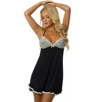 Chemise style pajama dress with lace cups