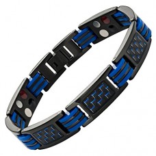 Willis Judd New Mens Four Element Magnetic Blue Carbon Fiber Black Titanium Bracelet + Link Removal Tool---FREE SHIPPING