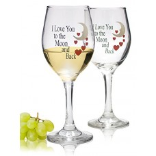 Wine Glass set with I Love You to the Moon and Back Standard Clear Wine Glass 14oz - Set of 2---Free shipping