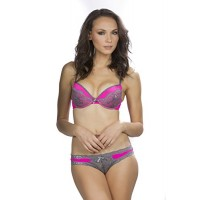 Women's Sexy Pink with Grey Lace Push Up Bra with Bikini and Thong Set of 3